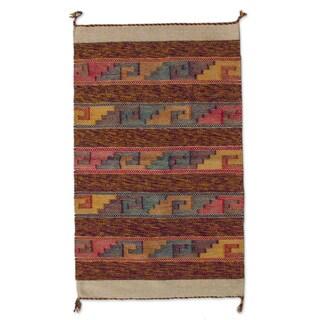 Handmade Mexican Sky Stairway Zapotec Wool Rug (2' x 3.5')