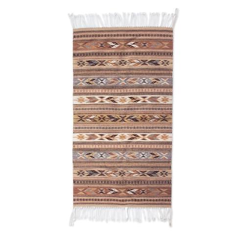 Handmade Mexican Cinnamon Glyphs Zapotec Wool Rug (Mexico) - 2.5' x 5'
