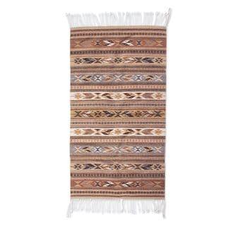 Mexican Cinnamon Glyphs Zapotec Wool Rug (2.5' x 5')