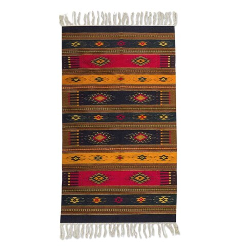 Handmade Mexican Color of Life Zapotec Wool Rug - 5' x 8' (Mexico)