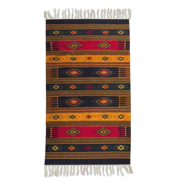 Handmade Mexican Color Of Life Zapotec Wool Rug (5' X 8
