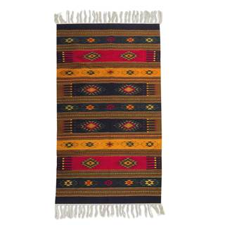 Handmade Mexican Color of Life Zapotec Wool Rug (5' x 8')