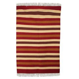 Handmade Indo Earthy Path Wool Rug (4' x 6') (India) - 4' x 6'