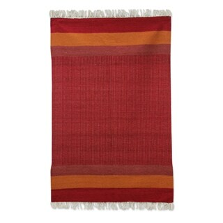 Indian Red Shadow Harmony Wool Rug (4' x 6')