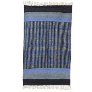 Indian Blue Shadow Harmony Cotton Rug (3' x 5')