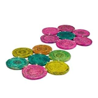 Set of 2 Handmade Recycled Paper 'Pinwheel Spin' Hot Pads (Guatemala)