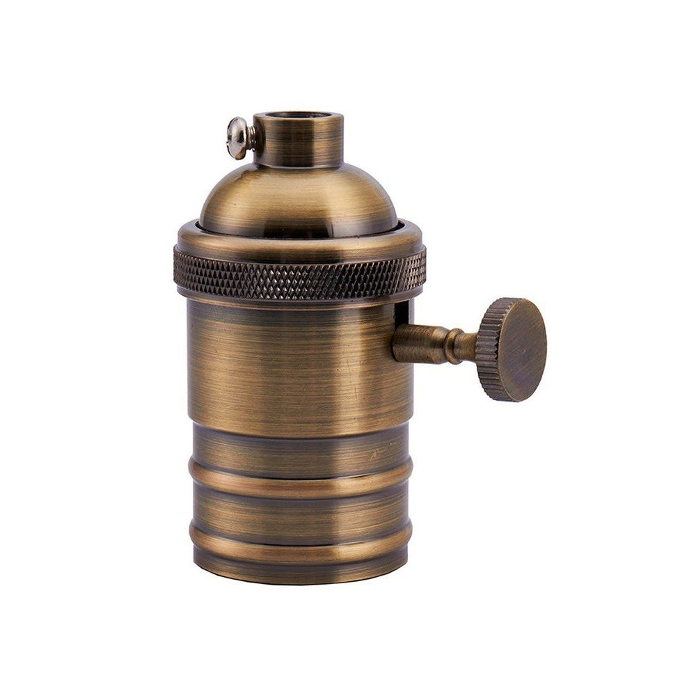 Brass Vintage Industrial-style Keyless Holder Lamp Socket...