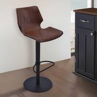 Armen Living Zuma Brown Faux-leather Adjustable Swivel Barstool with Black Metal Base