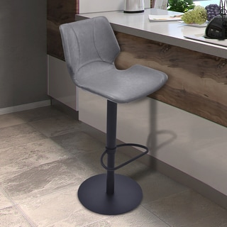 Armen Living Zuma Grey/Black Faux-leather/Metal Adjustable Swivel Barstool