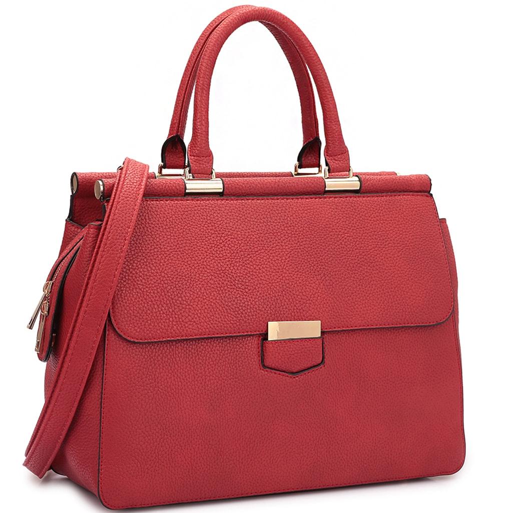 09c46034c155 Dasein Expandable Side ZIPPER Briefcase Satchel Handbag Red | eBay