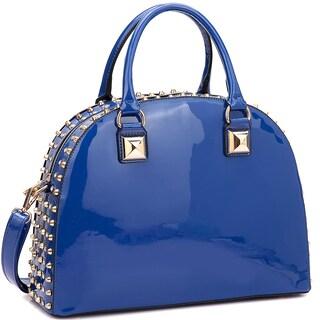 Dasein Patent Rhinestone Studded Dome Zip Around Flat Bottom Fashion Handbag