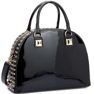 Dasein Patent Rhinestone Studded Dome Zip Around Flat Bottom Fashion Handbag