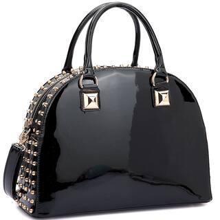 Dasein Patent Rhinestone Studded Dome Zip Around Flat Bottom Fashion Handbag|https://ak1.ostkcdn.com/images/products/13180637/P19903365.jpg?impolicy=medium