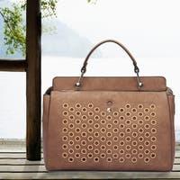 Dasein Faux Leather Designer Holes Satchel Handbag with Weave Shoulder Strap