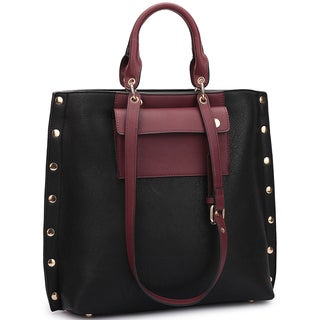 Dasein Front Pocket and Side Gold Snap Accent Tote Bag