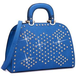 Dasein Trendy Rhinestone and Studs Princess Satchel Handbag