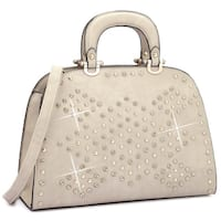 Dasein Trendy Rhinestone and Studs Princess Satchel Handbag