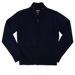 French Toast Boys' Dark Navy Acrylic Zippered Front Sweater