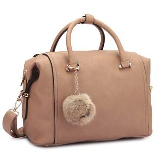 Dasein Faux Leather Satchel Handbag with PomPom