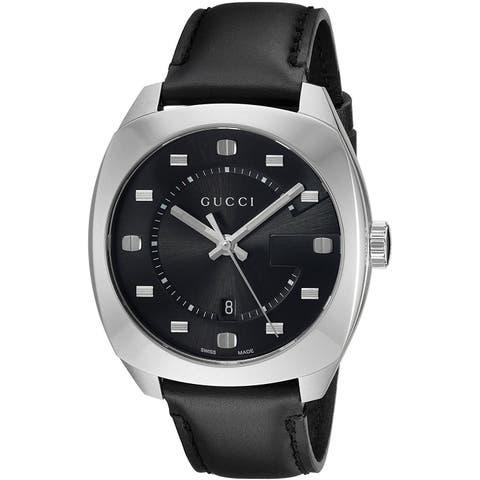 d57bef6f96c Gucci Men s YA142307  GG2570  Black Leather Watch