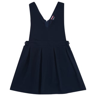 French Toast Girl's Navy Blue Cotton and Spandex Low V-neck Jumper
