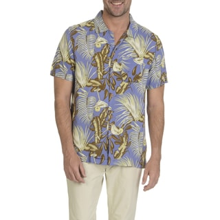 Caribbean Joe Men's Multicolor Rayon Short-sleeve Button-down Palm and Martini Print Shirt