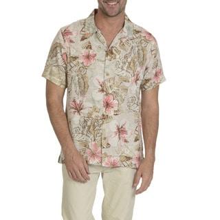 Caribbean Joe Men's Rayon Short-sleeve Print Button-down Shirt