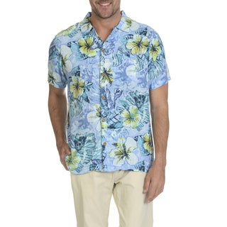 Caribbean Joe Men's Rayon Short-sleeve Print Button-down Shirt