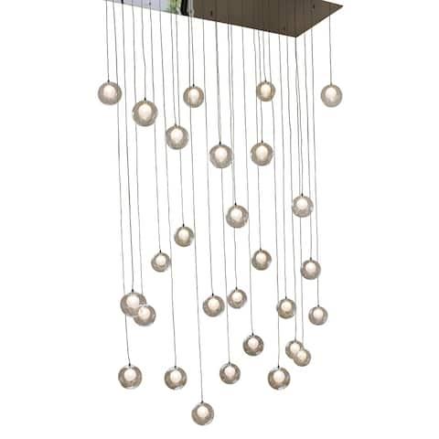 Ara 28-Light Glass Sphere Rectangular LED Chandelier - Chrome