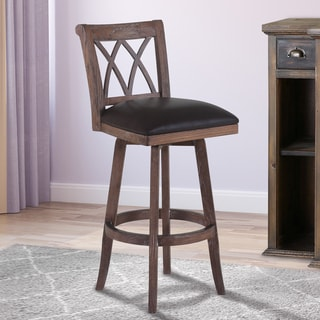 Armen Living Sonoma Wire Brushed Brown Wood and Faux Leather Swivel Barstool