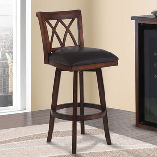 Armen Living Sonoma Pecan-finish Wood and Brown Faux Leather Swivel Barstool