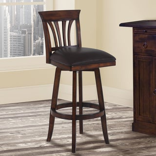 Armen Living Madison Brown Faux-leather/Pecan-finish Wood Swivel Barstool