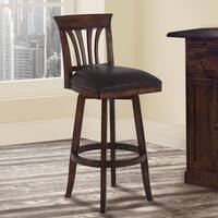 Armen Living Madison Brown Faux-leather/Pecan-finish Wood Swivel Barstool