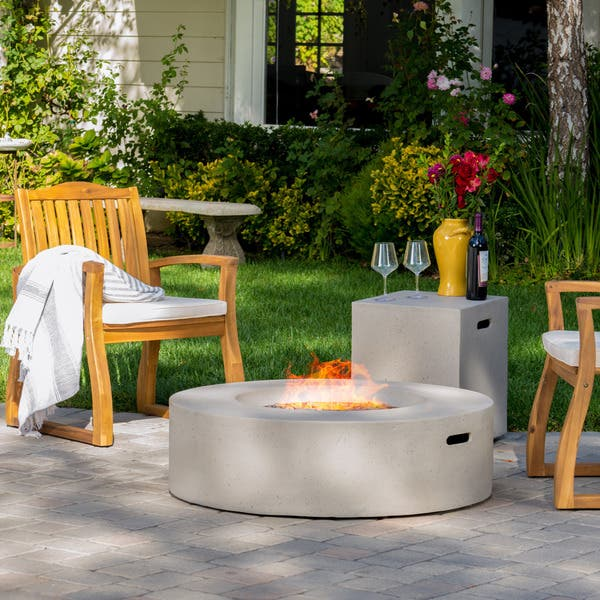 Santos Circular Propane Fire Pit Table With Tank Holder By Christopher Knight Home On Sale Overstock 13181165 White Grey