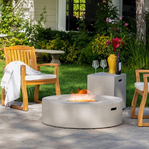 Santos Circular Propane Fire Pit Table with Tank Holder by Christopher Knight Home