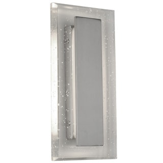 Alternating Current Royal Pane LED Small Satin Nickel Bath Fixture with Seedy Crystal