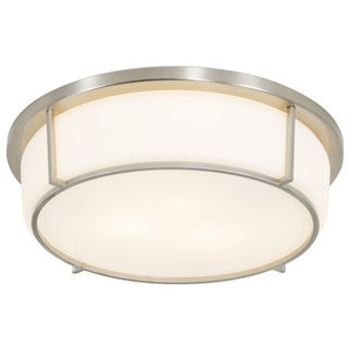 Alternating Current Smart 3-light Satin Nickel Flush Ceiling Fixture with Opal Glass