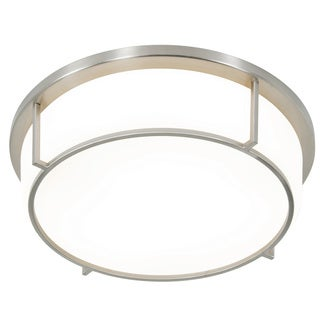 Alternating Current Smart LED Satin Nickel Flush Ceiling Fixture with Opal Glass