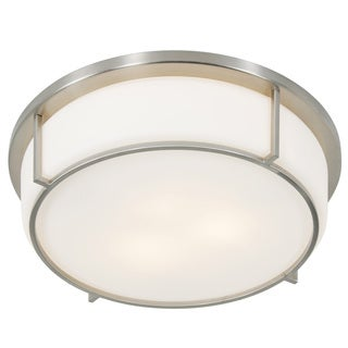 Alternating Current Smart 2-light Satin Nickel Flush Ceiling Fixture with Opal Glass