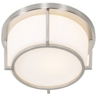 Alternating Current Smart 1-light Satin Nickel Flush Ceiling Fixture with Opal Glass