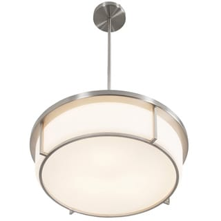 Alternating Current Smart 3-light Satin Nickel Pendant with Opal Glass