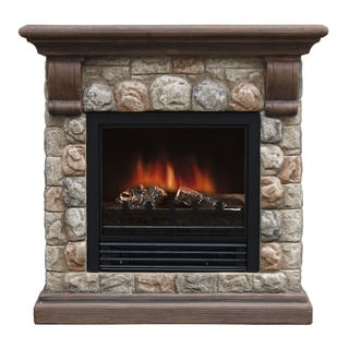 Dublin Metal, Glass, and Resin Polystone Electric Fireplace