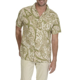 Caribbean Joe Men's Rayon Short-sleeved Print Button-down Shirt
