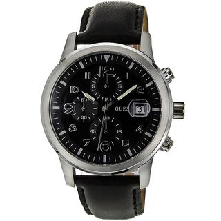Guess Men's W11163G4 'Classic' Chronograph Black Leather Watch