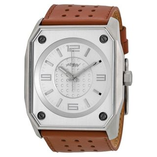 Kr3w Men's K1016B 'Stealth' Brown Leather Watch