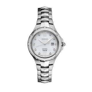 Seiko Coutura Women's SUT307 Stainless Steel and Diamond Solar Watch with 100M Water Resistance