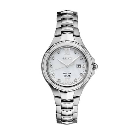 Seiko Coutura Women's Stainless Steel and Diamond Solar Watch with 100M Water Resistance