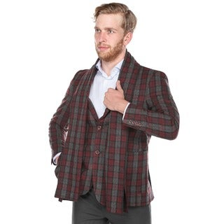 Beverly Hills Polo Men's Burgundy and Dark Grey Plaid Slim Fit Wool Blend Blazer with Matching Scarf