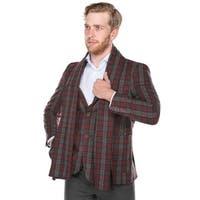 Zenbriele Men's Burgundy & Dark Grey Plaid Slim Fit Wool Blazer