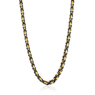 Crucible Two Tone Stainless Steel Byzantine Chain Necklace (8mm) - 24 Inches (3 options available)